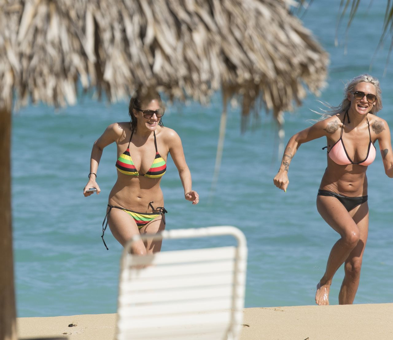 Caroline Flack Bikini Pics  on the Beach in Jamaica  January 2015