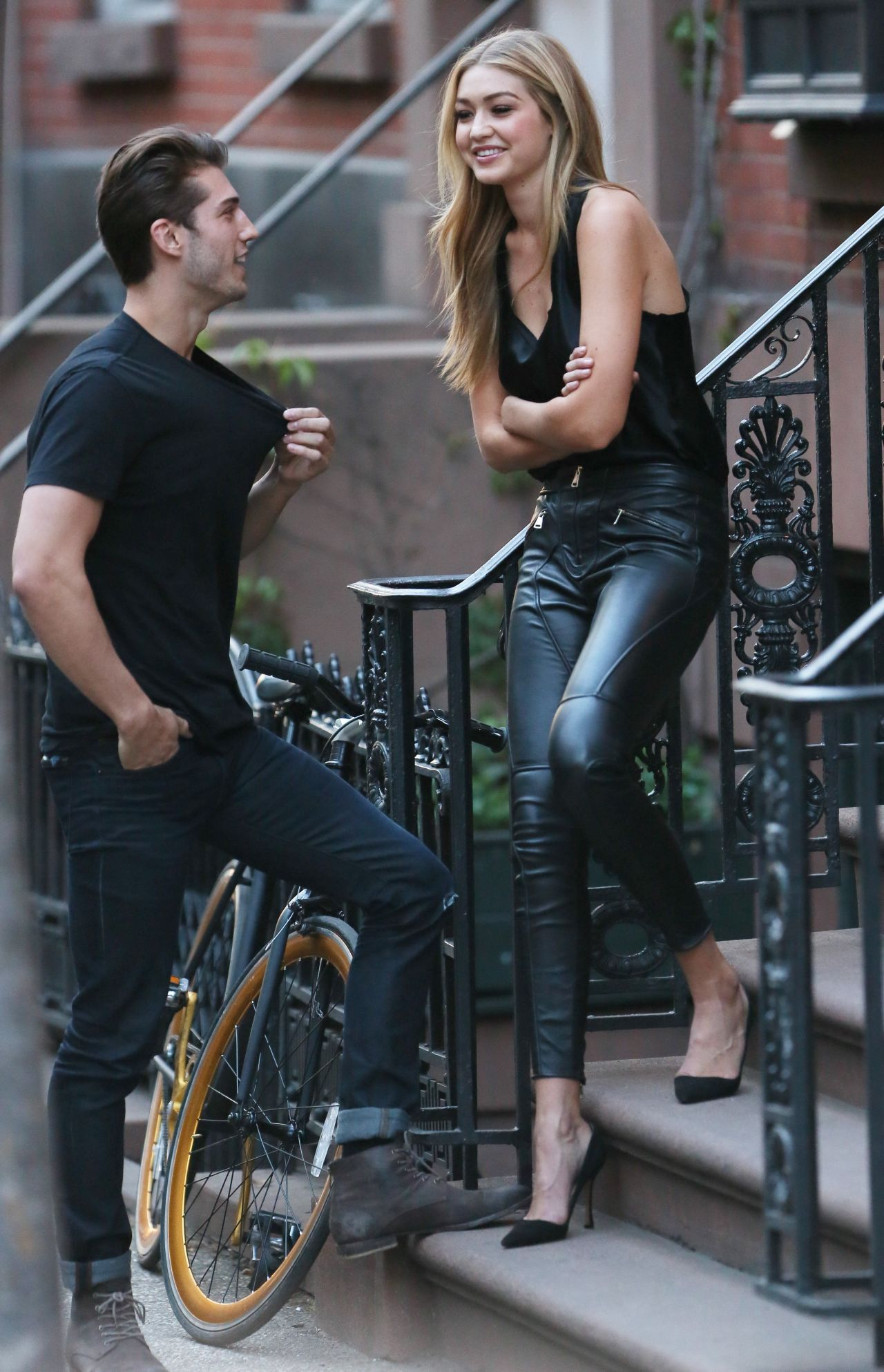 Gigi Hadid in Leather Pants and Heels  Doing a Photoshoot in NYC April 2015