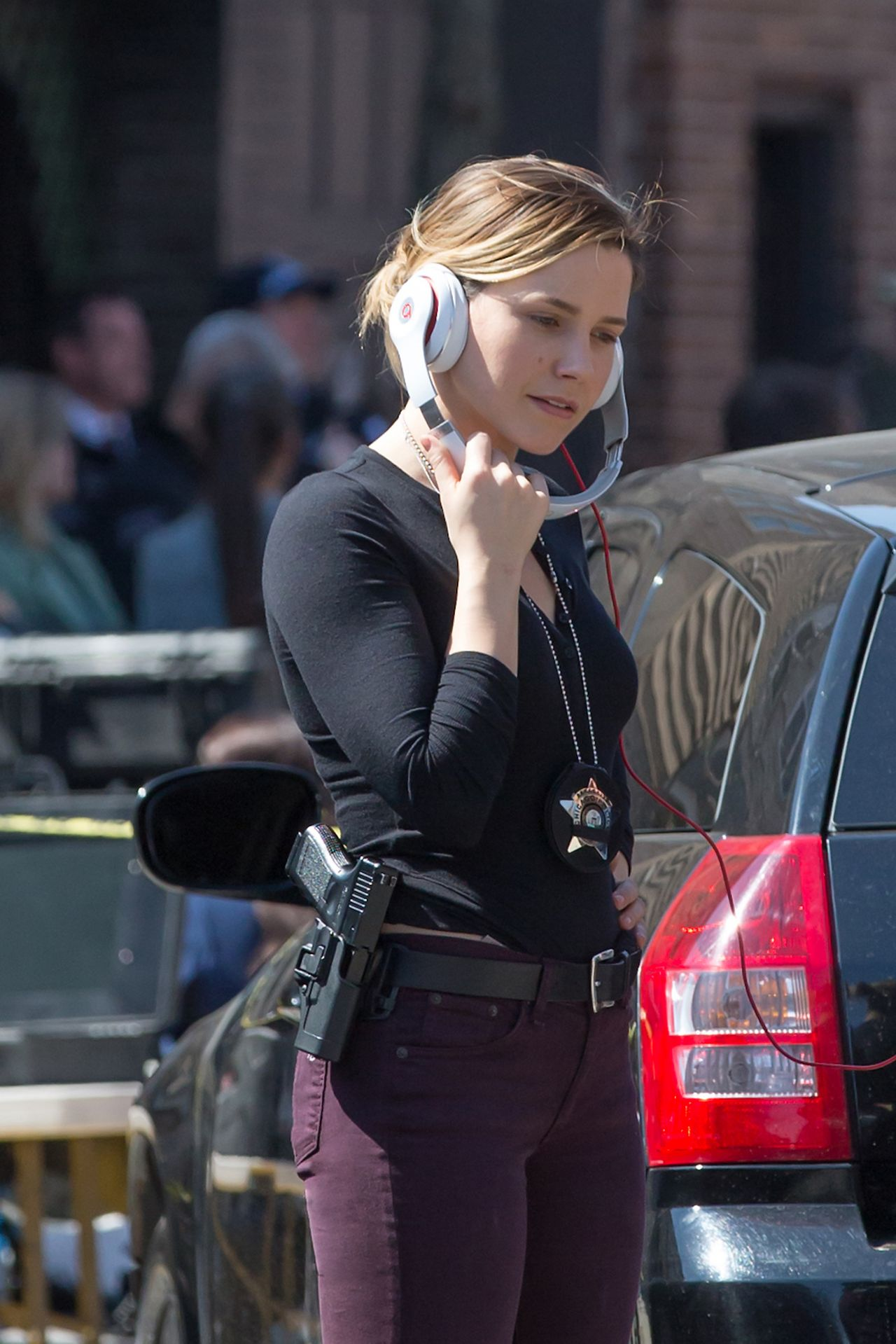 Sophia Bush On the Set of Chicago PD in Chicago April 2015