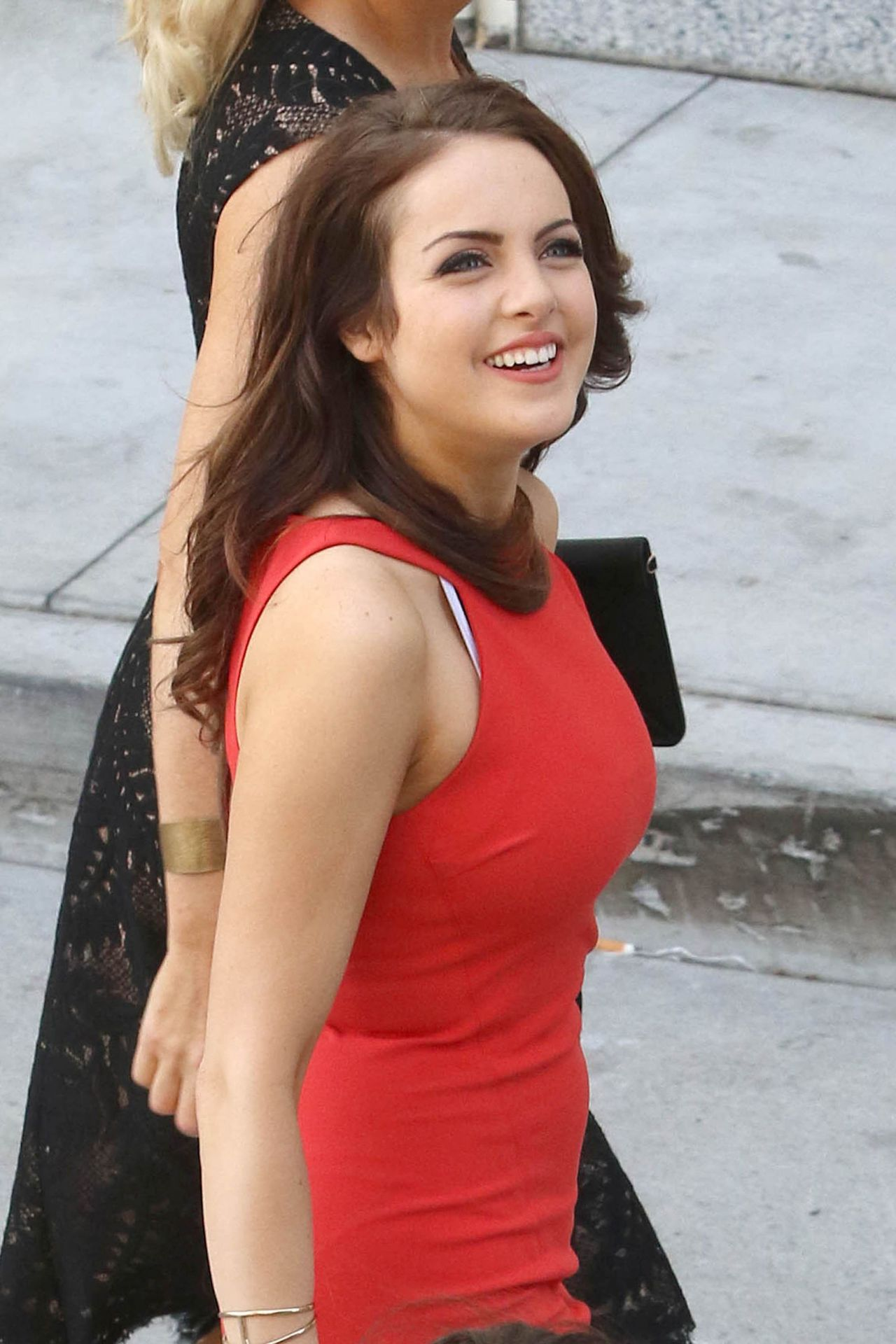 Elizabeth Gillies in a Red Dress  Leaving the Hard Rock