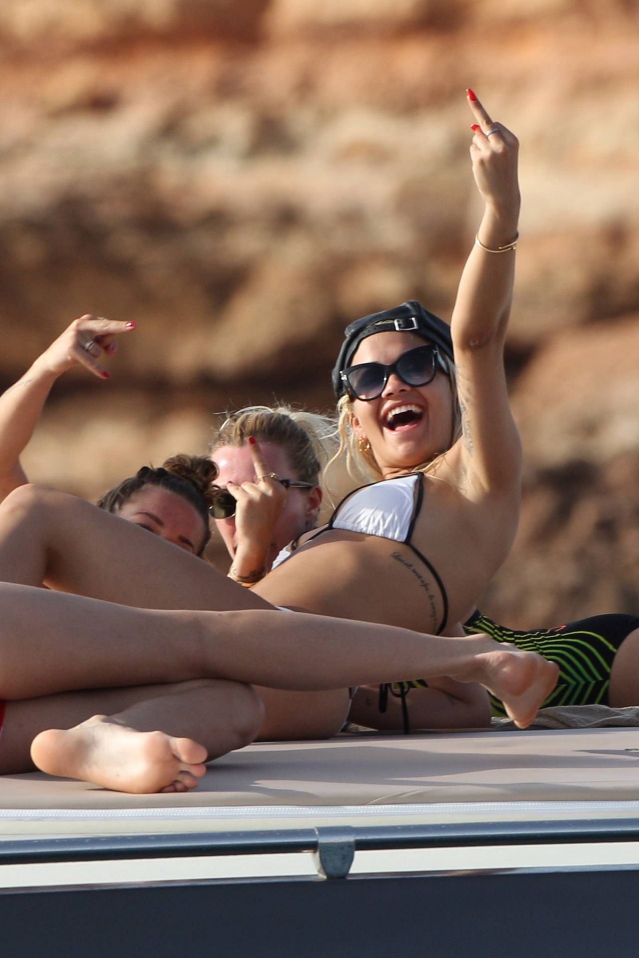 Rita Ora in Bikini  On a Yacht in Ibiza August 2015
