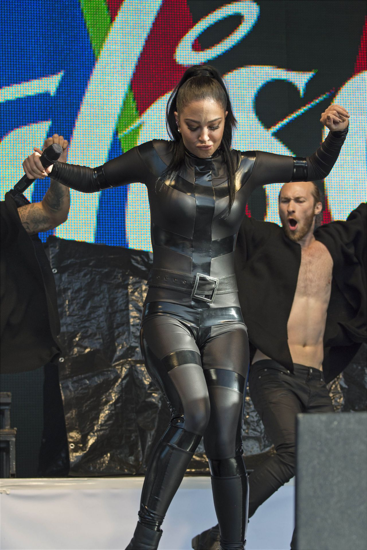 Tulisa Contostavlos in Rubber Catsuit  Live Brighton Gay