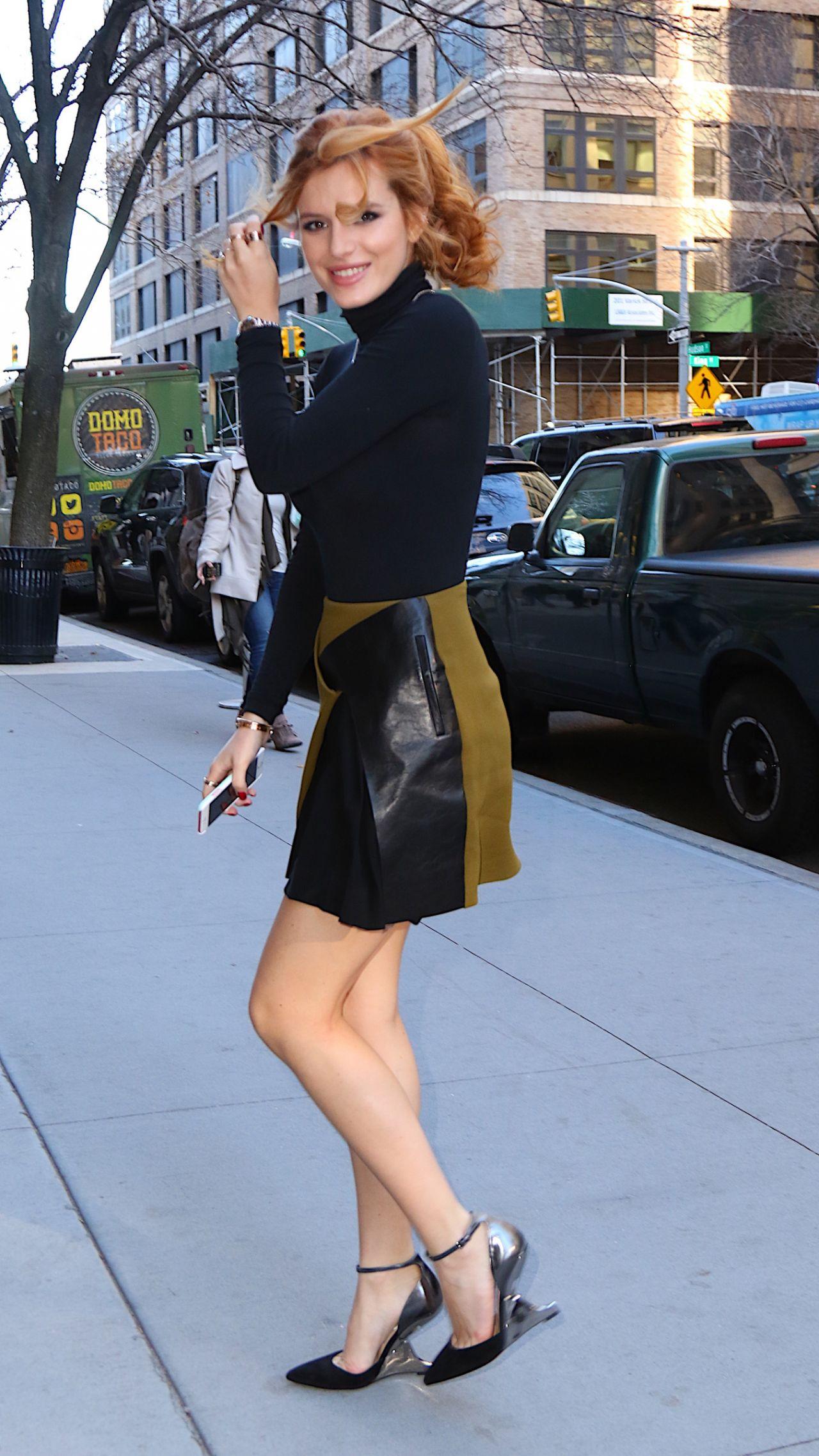 Bella Thorne Leggy in Mini Skirt  Out in New York City