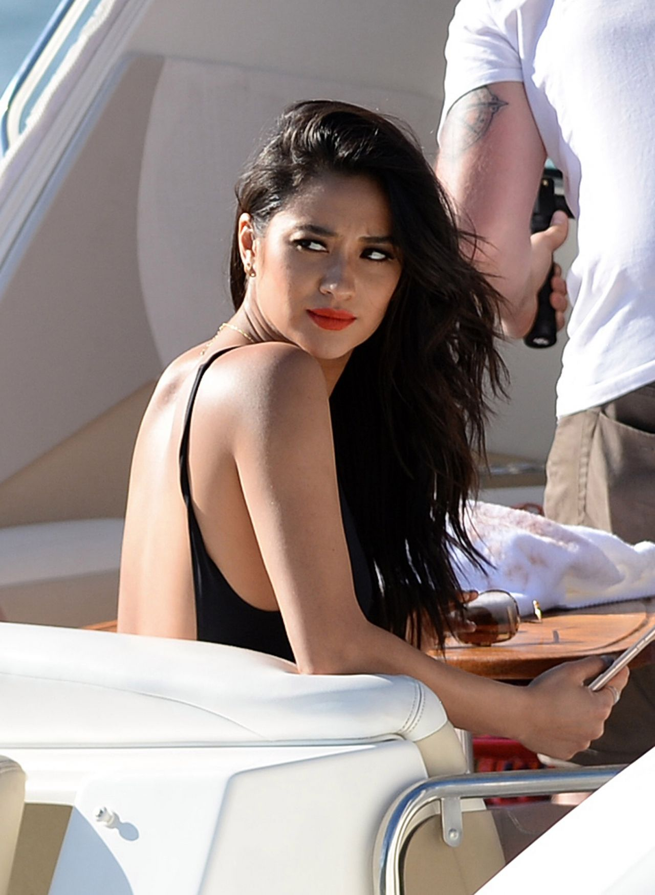 Shay Mitchell Hot In Jeans Shorts At Yacht With Friends
