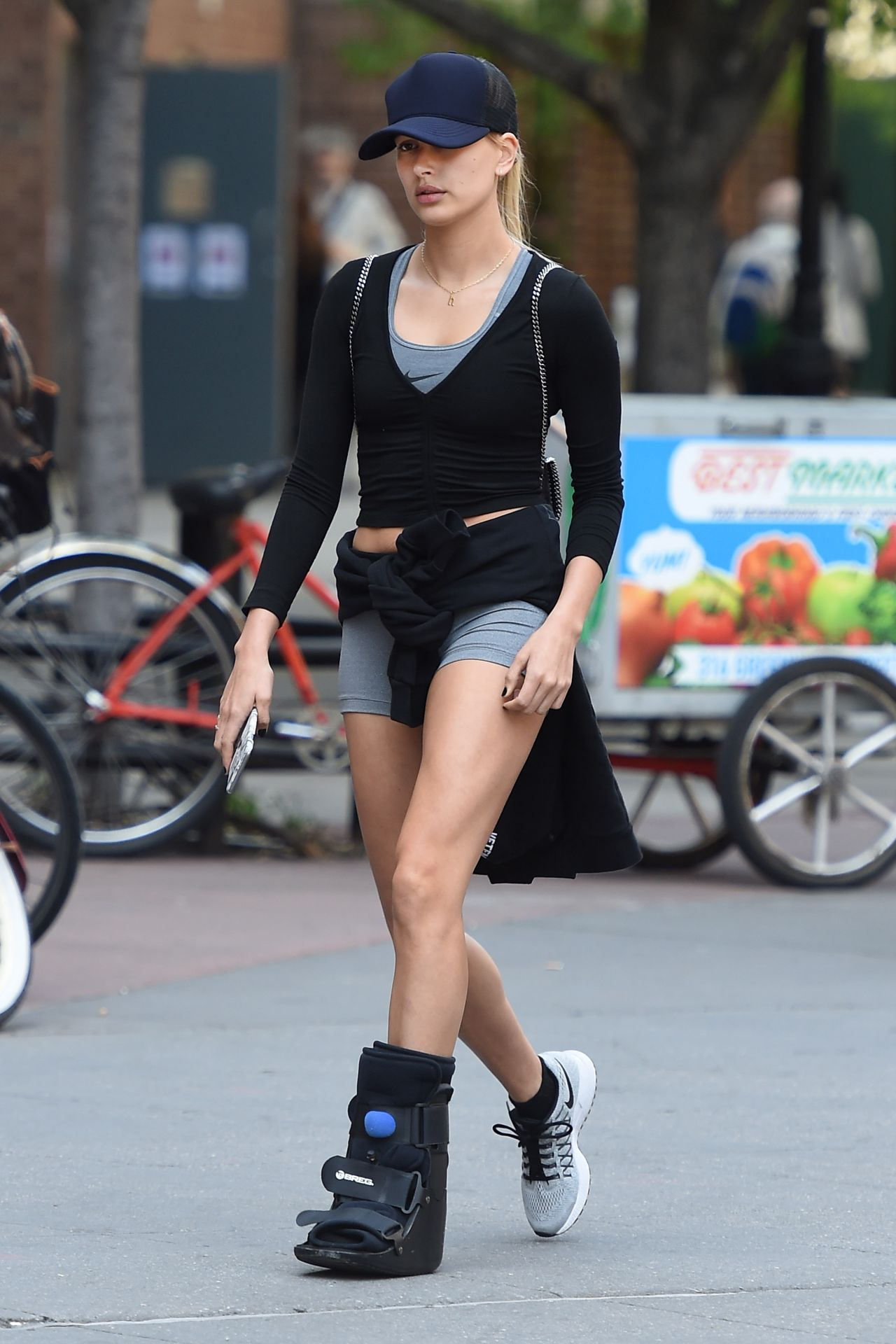 Hailey Baldwin Wearing Foot Brace  Out in New York City May 2016