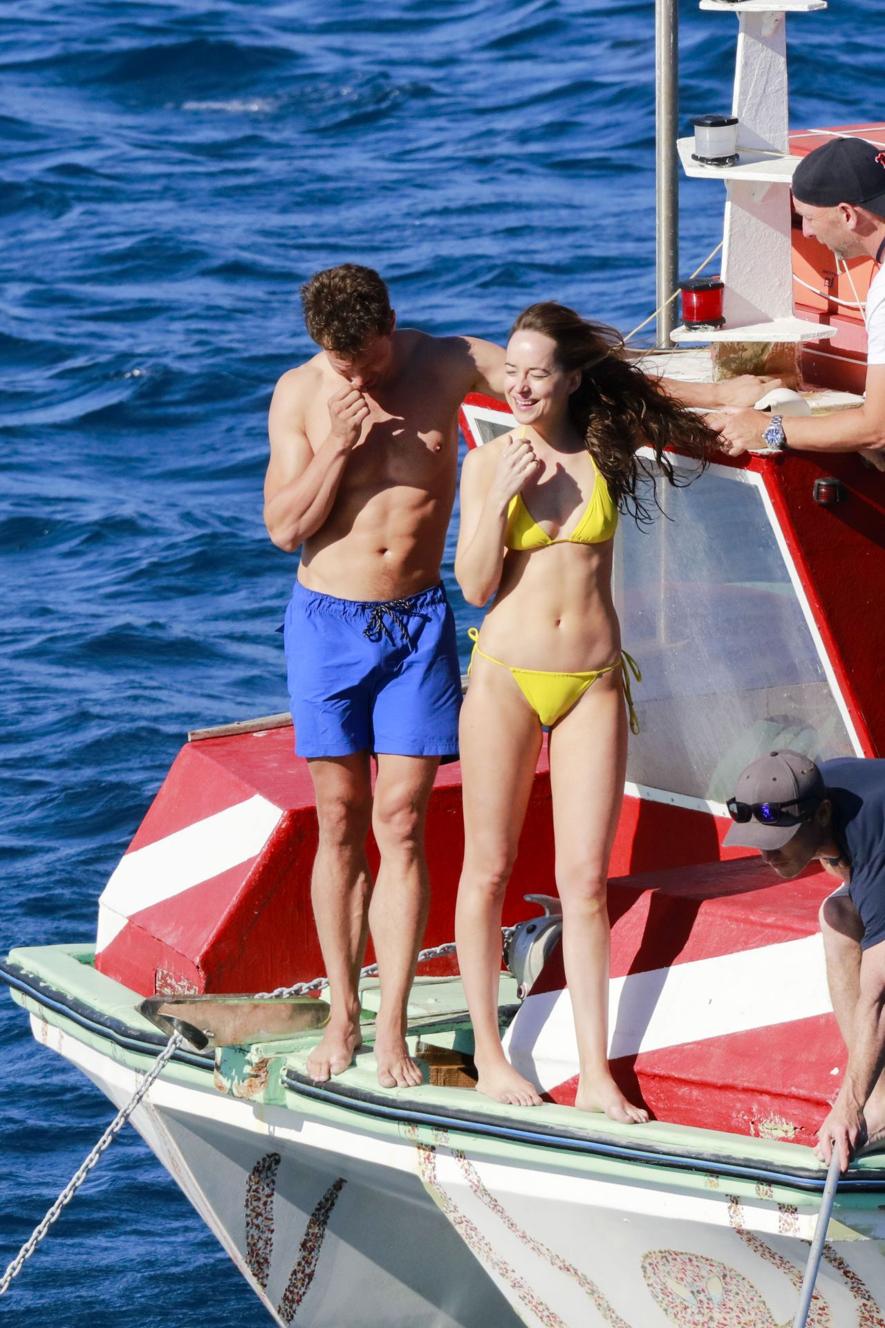 Dakota Johnson in Yellow Bikini  Fifty Shades Freed Set