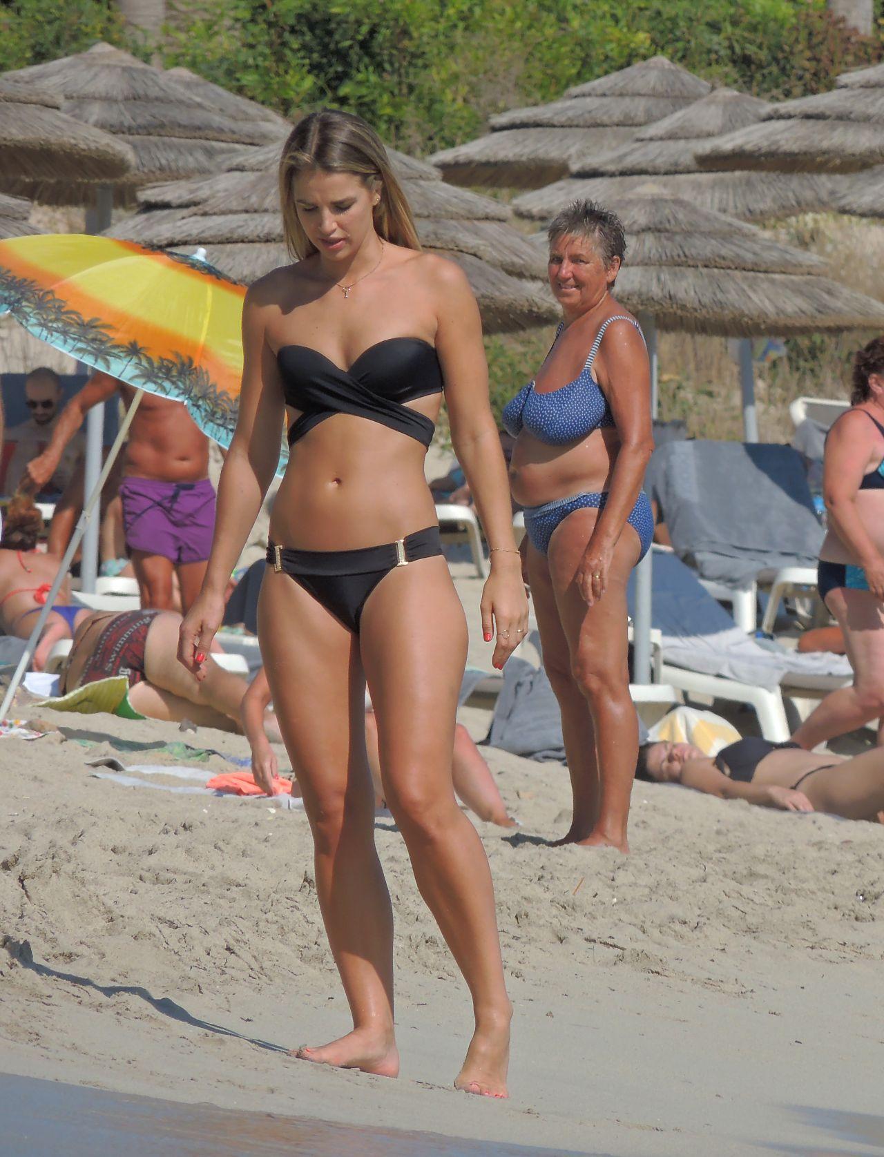 Vogue Williams In Black Bikini On Nissi Beach In Ayia Napa