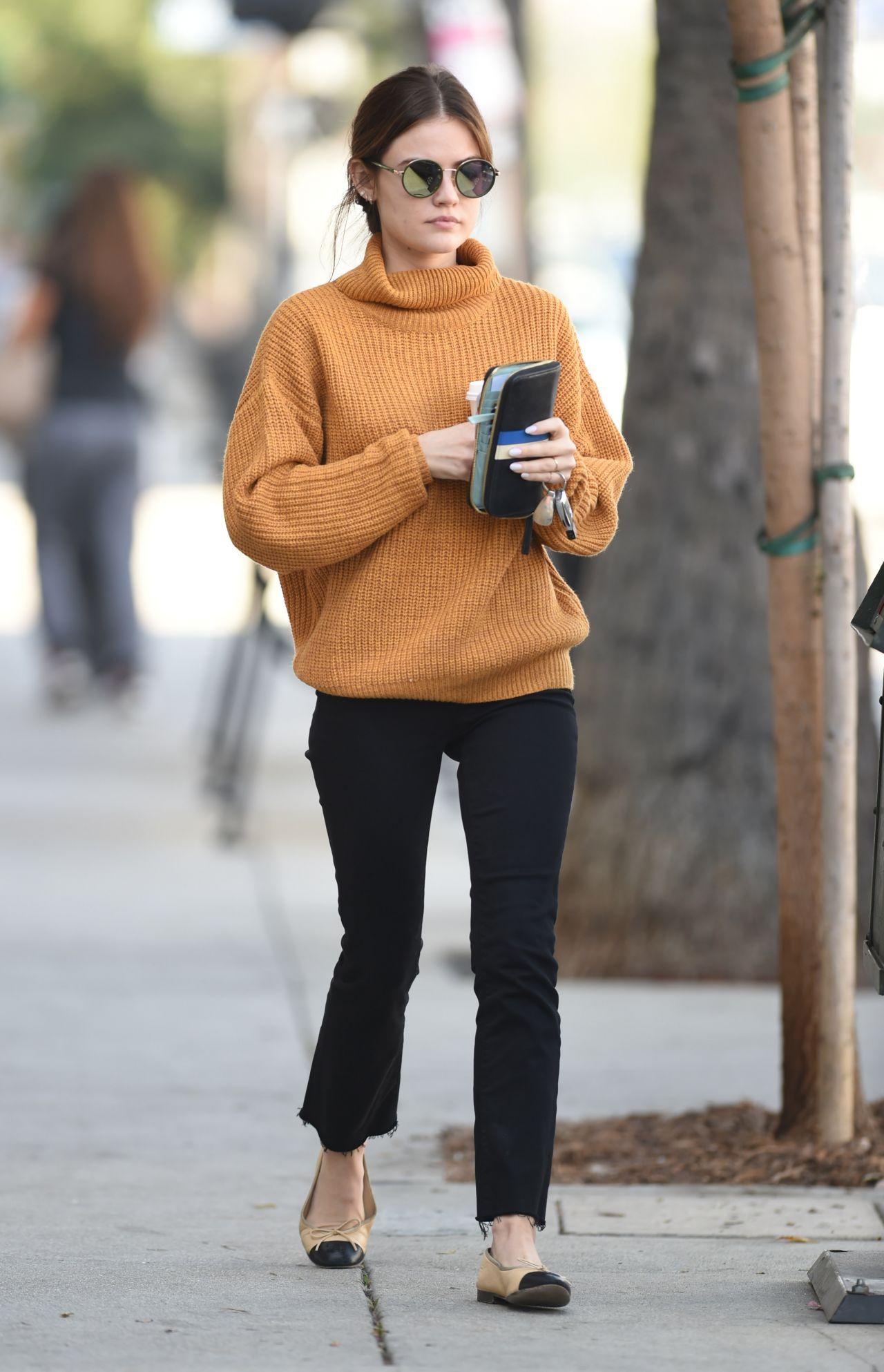 Lucy Hale Street Style Stops By A Starbucks In LA 10132016