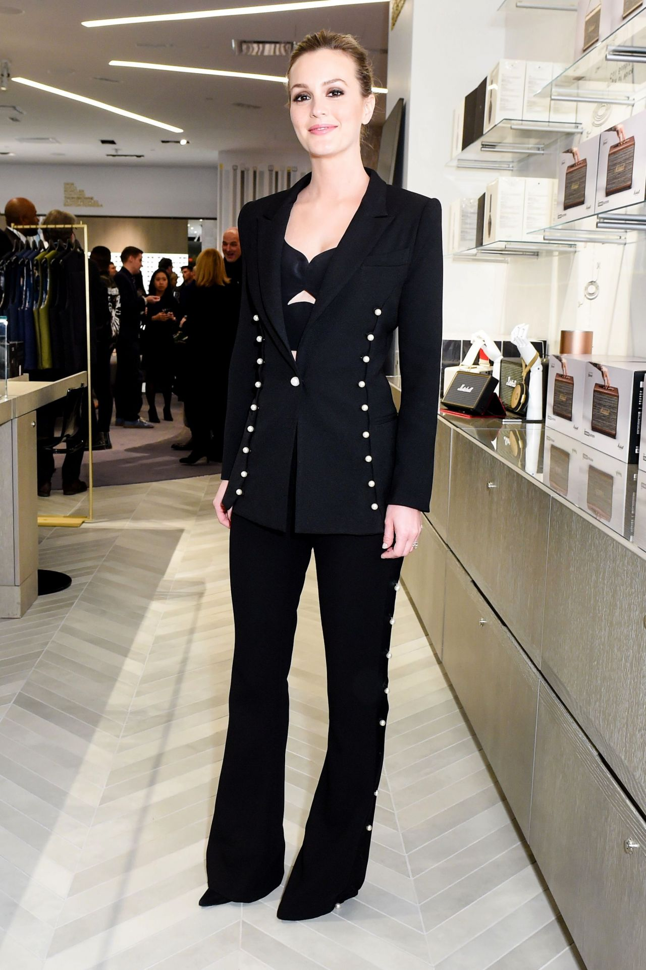 Leighton Meester  Saks Downtown Mens Grand Opening in