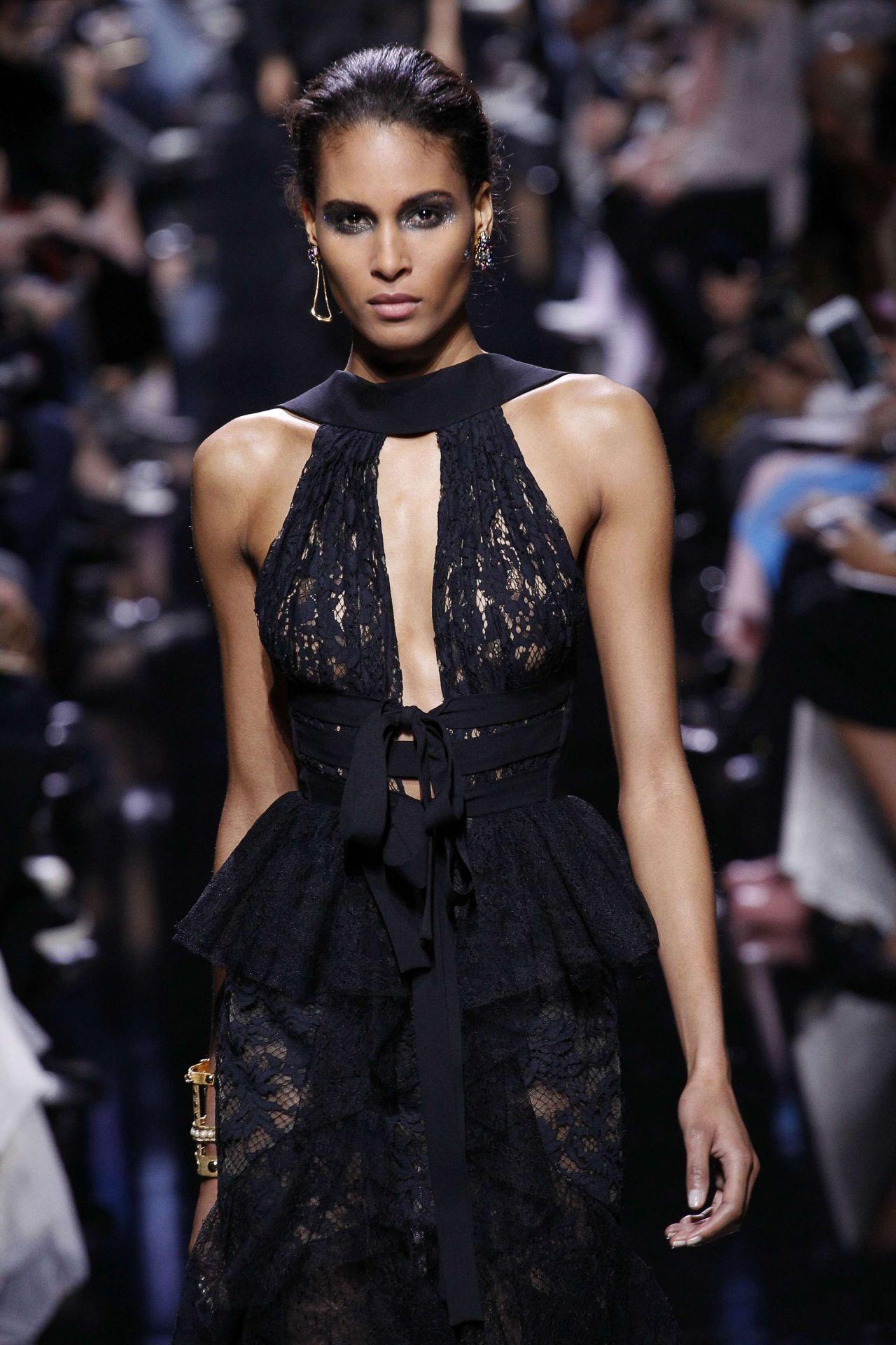 Cindy Bruna  Elie Saab Show Runway on Paris Fashion Week