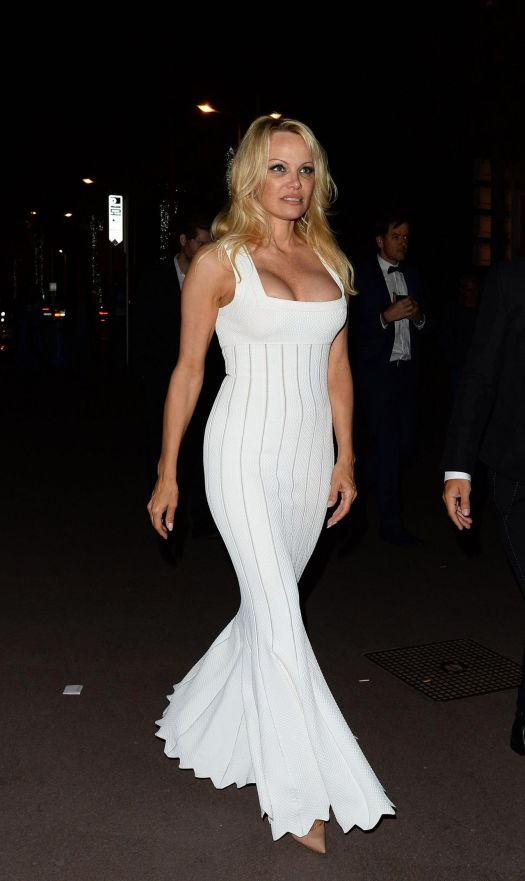 Pamela Anderson at Yacht Party in Cannes 05/22/2017