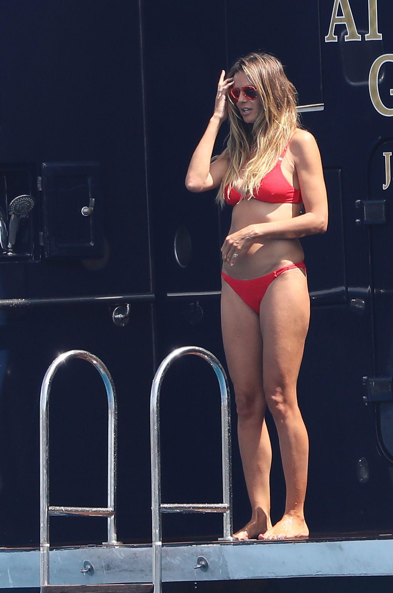 Heidi Klum In A Red Bikini On A Yacht Saint Tropez