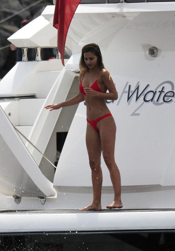 Ann Kathrin Brommel In A Red Bikini On A Yacht In