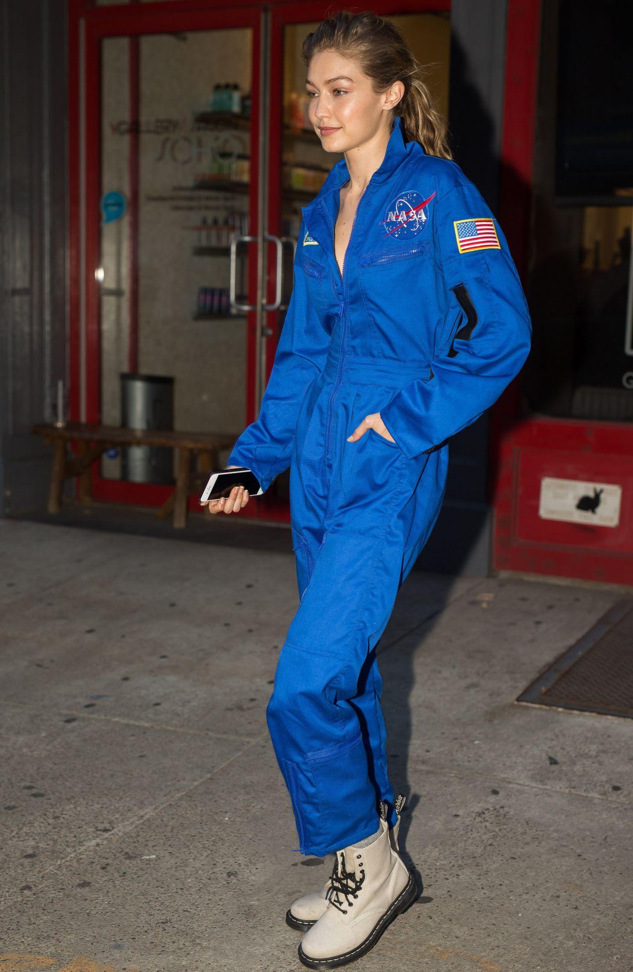 Gigi Hadid in a Blue NASA Jumpsuit  NYC 10252017
