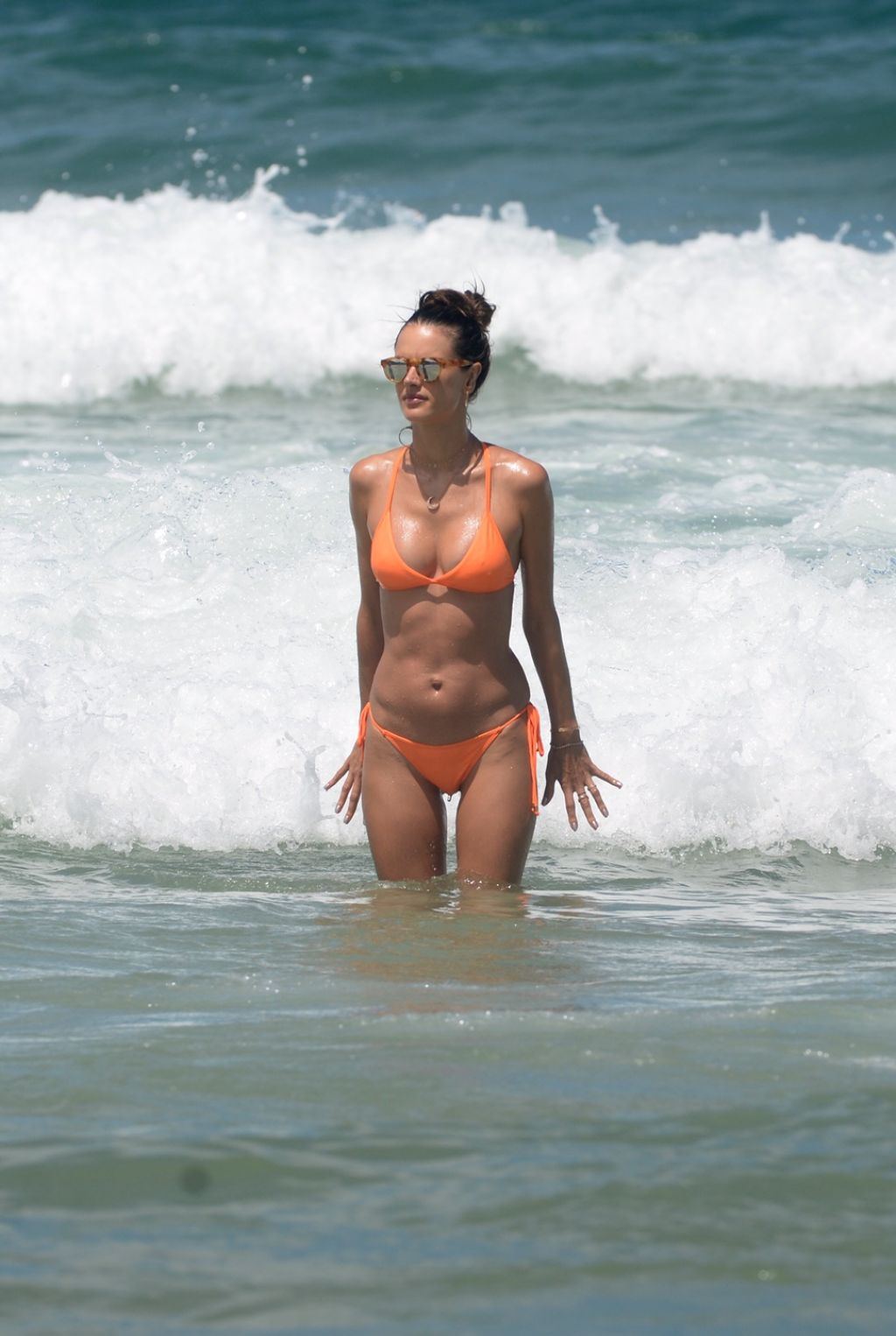Alessandra Ambrosio in a Peach Bikini on the Beach in Rio
