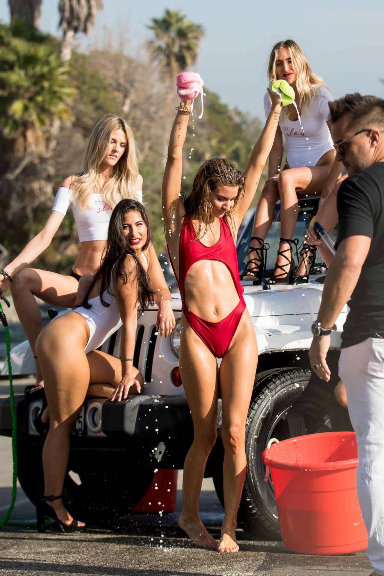 Rachel McCord In Red Bikini Washing Car In Malibu 01182018