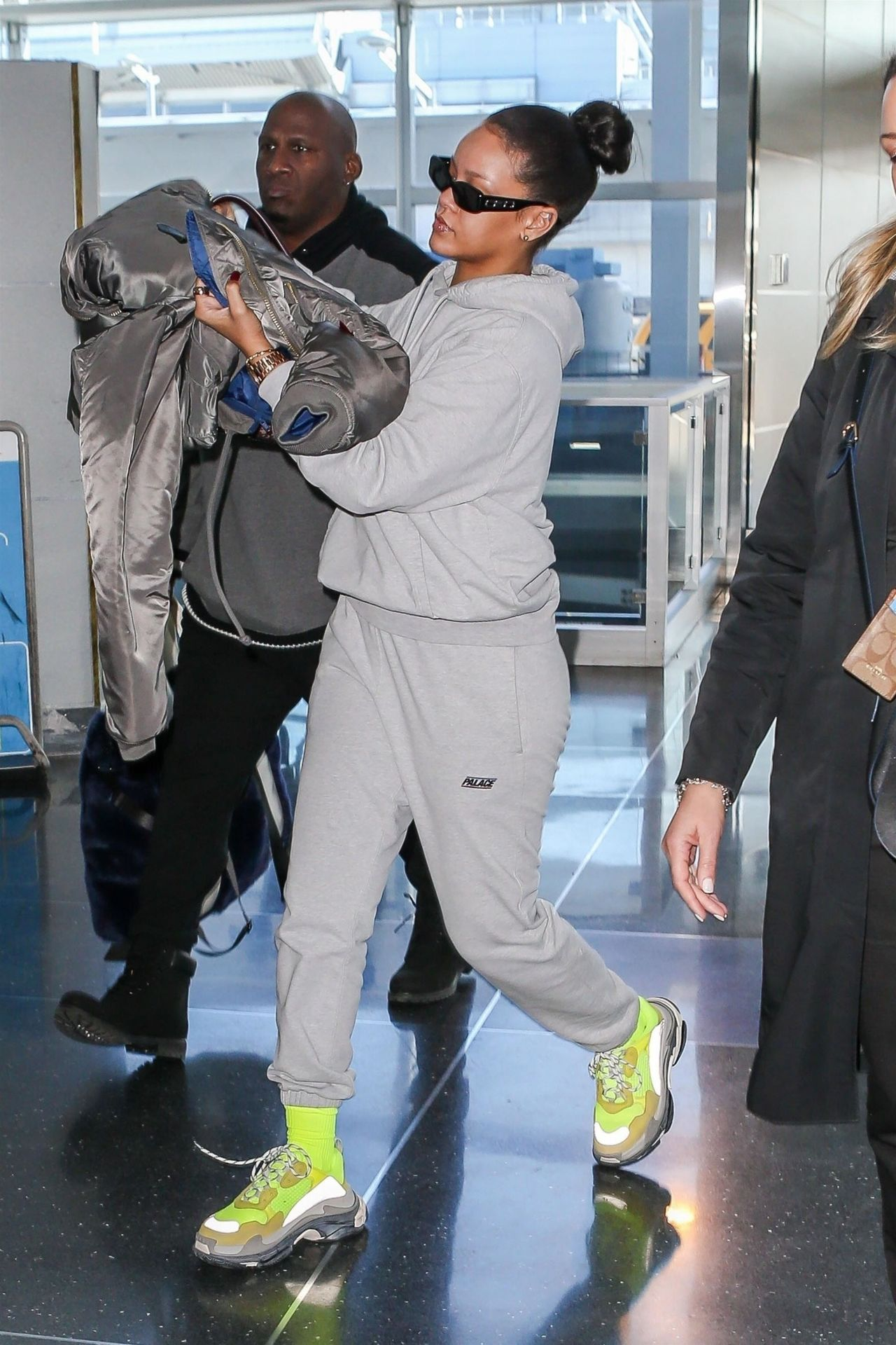 Rihanna in Travel Outfit at JFK Airport in NYC 02272018