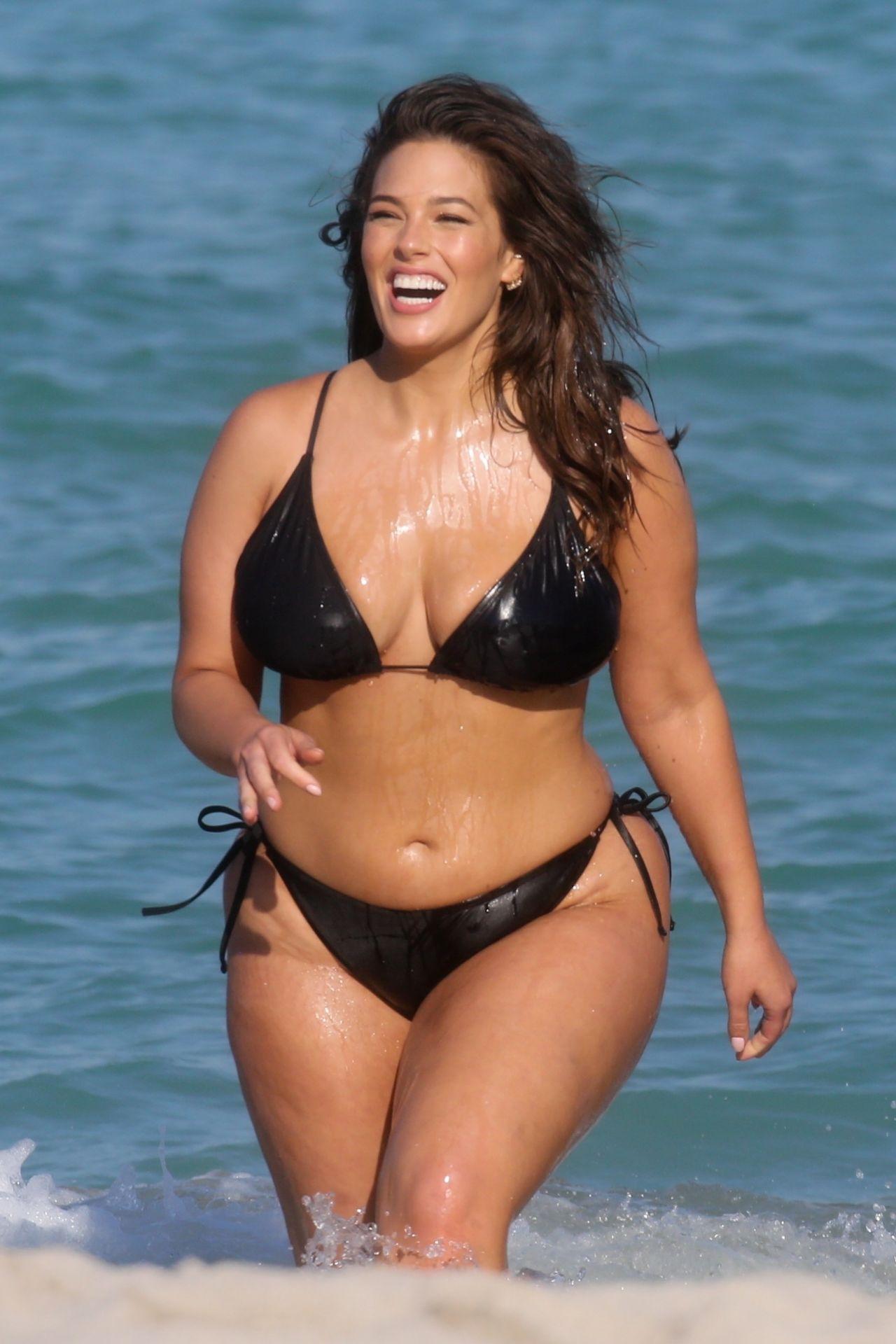 Ashley Graham in a Black Bikini  Photoshoot on the Beach