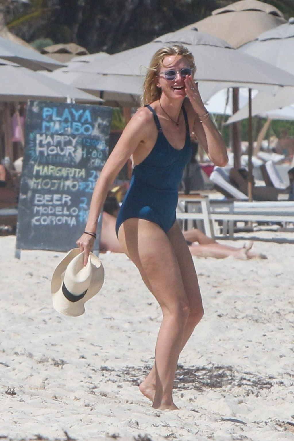 Naomi Watts in a Blue Swimsuit on the Beach in Tulum 04052018