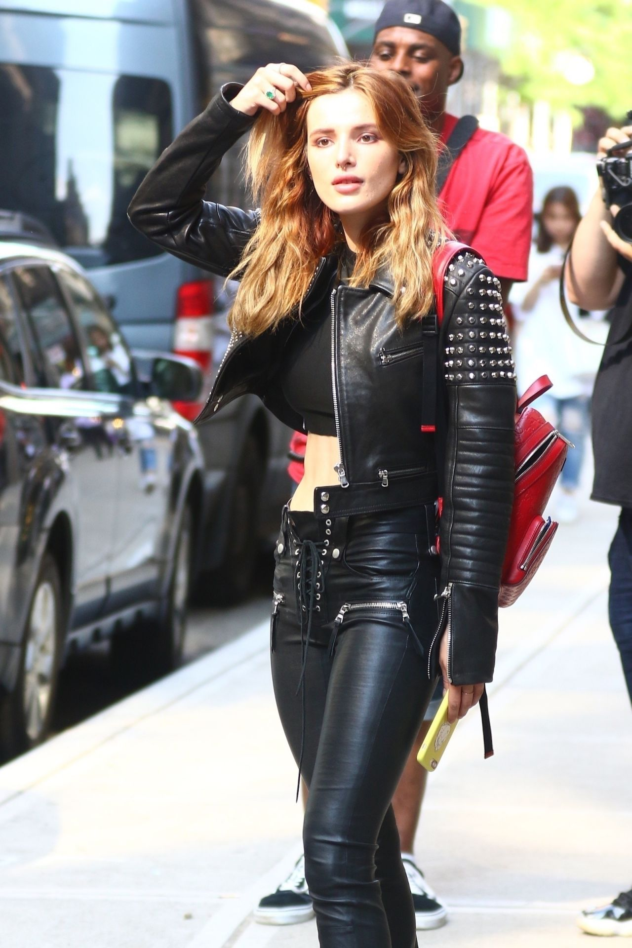 Bella Thorne in a Black Leather  New York City 05232018