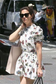 Katie Holmes Leggy In Floral Print Mini-dress - York