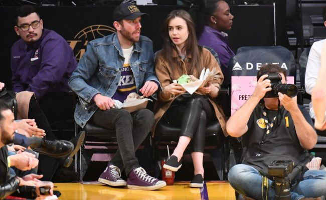 Lily Collins Cleveland Cavaliers Vs La Lakers At Staples