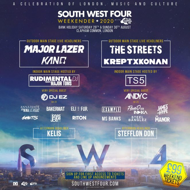 Lineup for South West Four (SW4) festival 2020