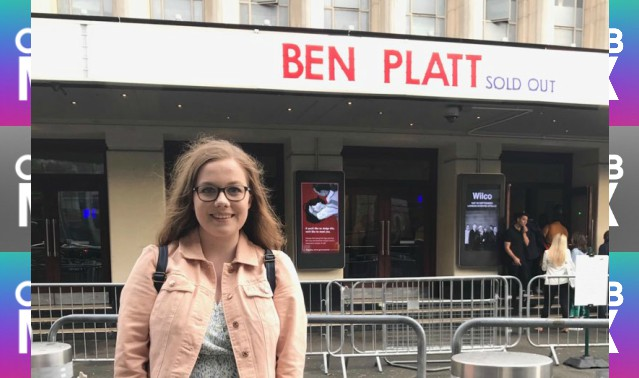 CelebMix logo background with Writer Enya Savage standing outside a venue where Ben Platt was set to perform.