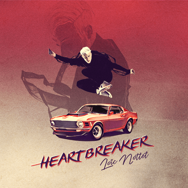 "The single artwork for ""Heartbreaker"" by Loïc Nottet which sees him jumping over the top of a red car, with the words of the title and his name underneath the car."