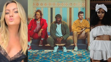 """A collage of the """"Danger"""" artists with Alexandra Stan on the left, RDGLDGRN in the middle wearing their colours in the music video, and Nitty Scott dressed in white from the video on the right."""