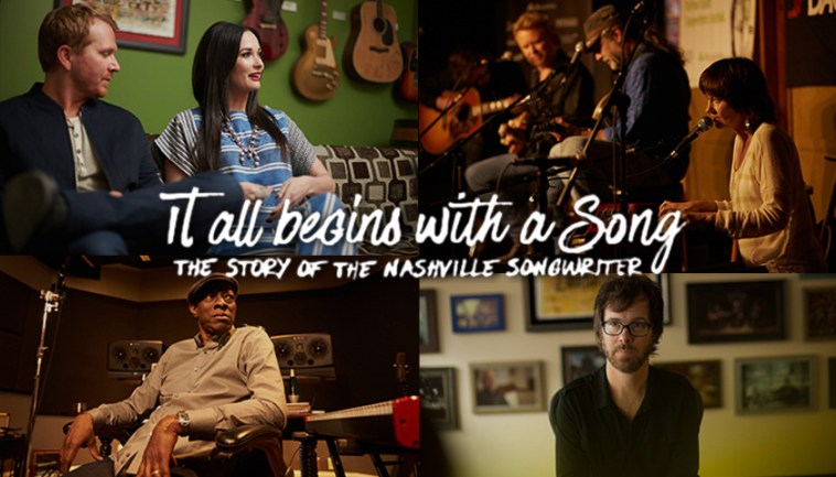 A collage of four stills from the film It All Begins With A Song including images of Kacey Musgraves and various other songwriters from the film.