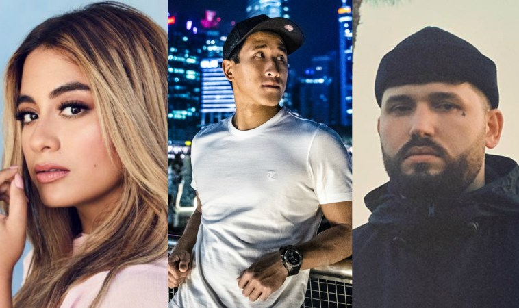 """Collage of the artists of """"Like You Do"""" with Ally Brooke with her blonde highlighted hair on the left, Florian Picasso wearing a tight white t-shirt with a city behind him in the middle, and GASHI wearing a beanie hat on the right."""