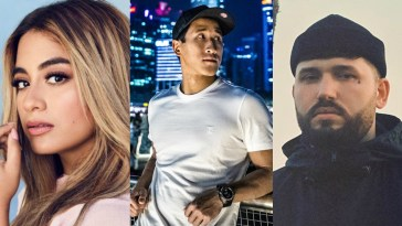 "Collage of the artists of ""Like You Do"" with Ally Brooke with her blonde highlighted hair on the left, Florian Picasso wearing a tight white t-shirt with a city behind him in the middle, and GASHI wearing a beanie hat on the right."