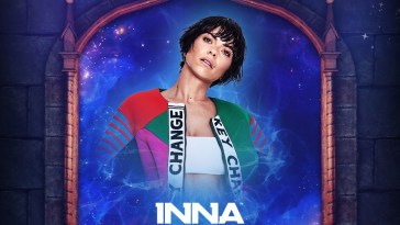 Poster for INNA UNTOLD OverNight which is midnight blue with Inna shown in an arch.