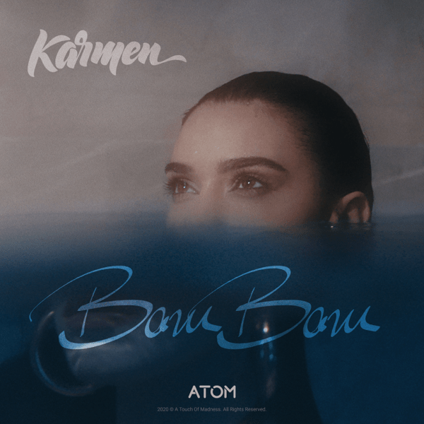 "Single artwork for ""Bam Bam"" which sees Karmen submerged in water with half her head above the surface."