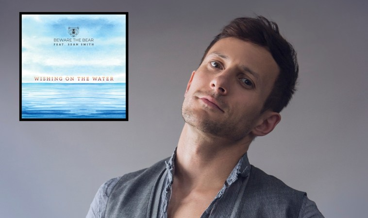 "Sean Smith with his head tilted back and the single artwork in the top left which is blue and has the title ""Wishing On The Water""."