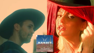 "Collage of stills from the ""Bandit"" video with Paul Damixie on the left wearing a cowboy hat and Alexandra Stan on the right wearing her fringe cowboy hat."