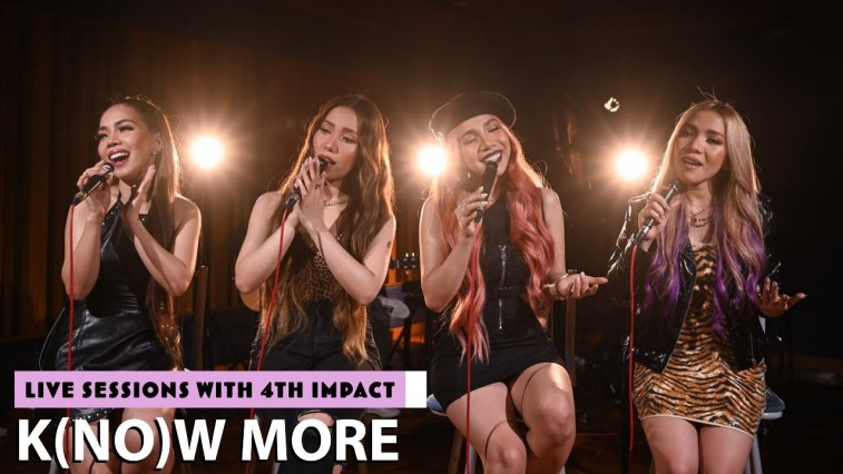 """4th Impact sitting on chairs wearing black, singing into microphones for their live session of """"K(NO)W MORE"""""""