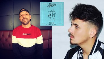 """Collage showing two images, the left image shows Bobby Harvey wearing a cap on backwards and a red, white, and blue jumper sitting down, while the right image shows Danny Dearden wearing a white sports jacket facing towards Bobby Harvey, with the single image artwork for """"Tell Me"""" in the middle which is neon blue with a drawing of a pair of lips whispering in an ear."""
