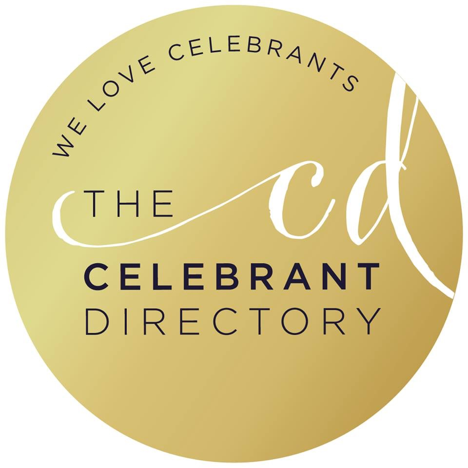 Golden badge that has text on it saying We Love Celebrants