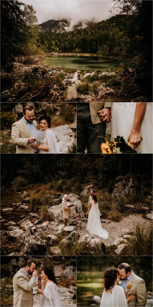 Several photos in a collage style showing a couple reading their marriage vows, at a lake by a mountain in Bavaria. They also hold hands, and carry out a beer blending ceremony which units them and their families.  The couple are eloping without any family present.  There is just the Celebrant, Yvonne Beck in attendance.