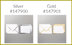 gold and silver note cards