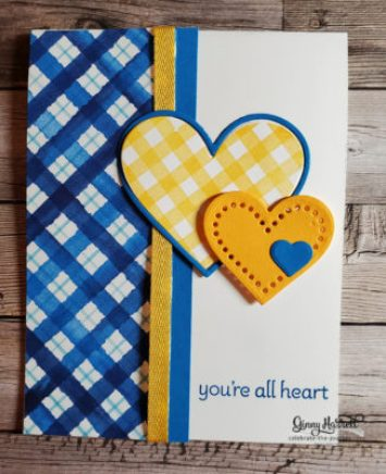 Lots of Heart Valentine Card Blue and Yellow makes me happy