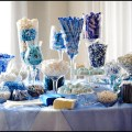 Blue and white candy bar or candy buffet for a wedding
