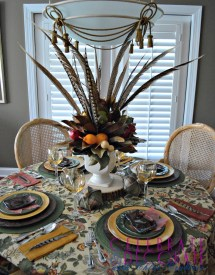 Fall Centerpiece Of Magnolia Leaves And Feathers