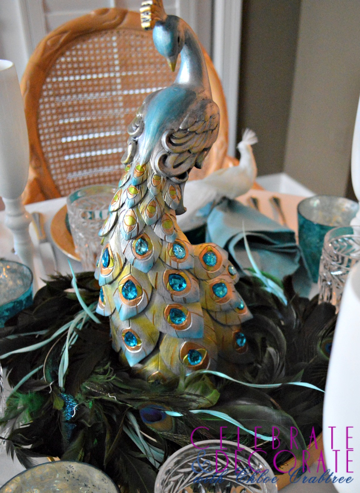 Peacock Tablescape for Christmas  Celebrate  Decorate