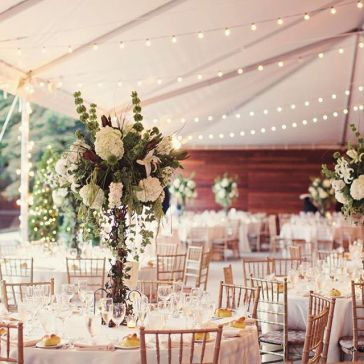 Table setting tented pavillion