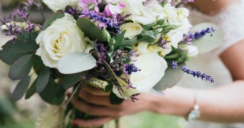 Wedding bouquet in the hand of a bride
