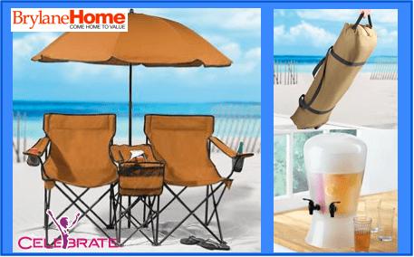 BrylaneHome-Outdoor-Furniture-BeachSet-DrinkDispenser