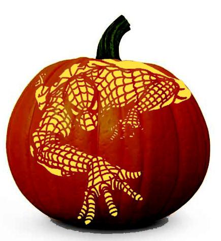 Amazing Spiderman (Climbing) - Halloween Pumpkin Carving Stencil